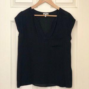 JOIE Rubina Black Silk V-neck Top Size Small